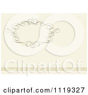 Clipart Of An Ornate Swirl Frame With Copyspace And Horizontal Lines On Beige Royalty Free Vector Illustration by BestVector