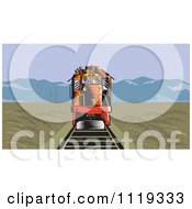 Clipart Of A Retro Diesel Train On Tracks In A Flat Landscape With Mountains In The Distance Royalty Free Vector Illustration