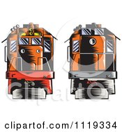 Clipart Of Retro Woodcut Diesel Trains Shown Front And Back Royalty Free Vector Illustration