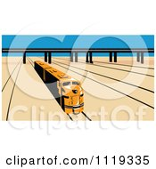 Clipart Of A Retro Diesel Train On Tracks Near A Viaduct Royalty Free Vector Illustration