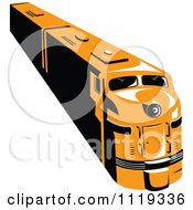 Clipart Of A Retro Orange Diesel Train Royalty Free Vector Illustration by patrimonio
