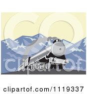 Clipart Of A Retro Steam Engine Train In The Mountains Royalty Free Vector Illustration