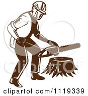 Clipart Of A Retro Arborist Tree Surgeon Or Lumberjack Over A Trunk Royalty Free Vector Illustration