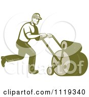 Clipart Of A Retro Gardener Or Landscaper Worker Using A Lawn Roller Royalty Free Vector Illustration