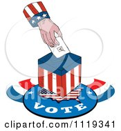 Clipart Of An American Hand Inserting A Voters Ballot Into A Box Royalty Free Vector Illustration