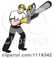 Clipart Of A Retro Arborist Tree Surgeon Or Lumberjack Operating A Chainsaw Royalty Free Vector Illustration