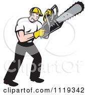 Retro Arborist Tree Surgeon Or Lumberjack Operating A Chainsaw