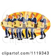 Clipart Of Retro Businsesmen Bankers Carrying Dollar Boxes Over Rays Royalty Free Vector Illustration