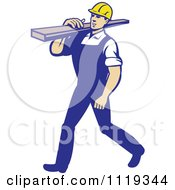 Poster, Art Print Of Retro Walking Carpenter Worker Carrying Lumber On His Shoulder