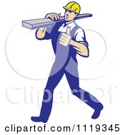 Retro Walking Carpenter Worker Holding A Thumb Up And Carrying Lumber On His Shoulder