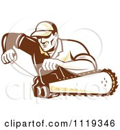 Clipart Of A Retro Arborist Tree Surgeon Or Lumberjack Starting Up A Chainsaw Royalty Free Vector Illustration