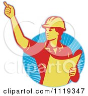 Clipart Of A Retro Construction Engineerwoman Directing And Holding Blueprints Over Rays Royalty Free Vector Illustration