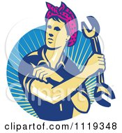 Clipart Of A Retro Female Auto Mechanic Flexing And Holding A Wrench Over Rays Royalty Free Vector Illustration