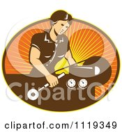 Clipart Of A Retro Woman Operating A Lathe Machine Over Rays Royalty Free Vector Illustration
