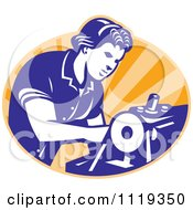 Clipart Of A Retro Seamstress Operating A Machine Over Orange Rays Royalty Free Vector Illustration