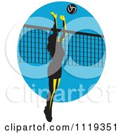 Clipart Of A Retro Female Volleyball Player Spiking Over A Net On Blue Royalty Free Vector Illustration by patrimonio