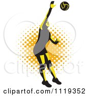 Clipart Of A Retro Female Volleyball Player Spiking Over Halftone Royalty Free Vector Illustration