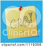 Cartoon Of A GR8 Great Written Acronym On A Pinned Note Royalty Free Vector Clipart by MilsiArt