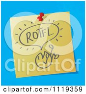 Cartoon Of A ROTFL Roll On The Floor Laughing Written Acronym On A Pinned Note Royalty Free Vector Clipart by MilsiArt