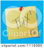 Cartoon Of A TNX Thanks Written Acronym On A Pinned Note Royalty Free Vector Clipart by MilsiArt