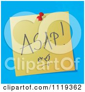 Cartoon Of A Handwritten ASAP Message On A Pinned Note Royalty Free Vector Clipart