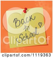 Cartoon Of A Handwritten Back To SchoolMessage On A Pinned Note Royalty Free Vector Clipart by MilsiArt