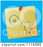 Cartoon Of A Sketched Talking Love Bird On A Pinned Note Royalty Free Vector Clipart by MilsiArt