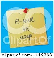 Cartoon Of A Handwritten Email Me ASAPMessage On A Pinned Note Royalty Free Vector Clipart