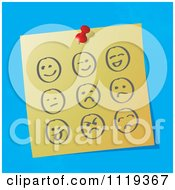 Cartoon Of Sketched Moody Faces On A Pinned Note Royalty Free Vector Clipart by MilsiArt