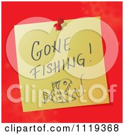 Cartoon Of A Handwritten Gone Fishing Message On A Pinned Note Royalty Free Vector Clipart by MilsiArt