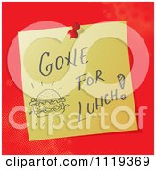Cartoon Of A Handwritten Gone For Lunch Message On A Pinned Note Royalty Free Vector Clipart by MilsiArt