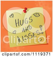 Cartoon Of A Handwritten Hugs And Kisses Message On A Pinned Note Royalty Free Vector Clipart by MilsiArt