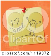 Cartoon Of A Handwritten I Love School Message On A Pinned Note Royalty Free Vector Clipart by MilsiArt