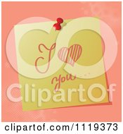 Cartoon Of A Handwritten I Love You Message On A Pinned Note Royalty Free Vector Clipart by MilsiArt