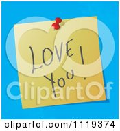 Cartoon Of A Handwritten Love You Message On A Pinned Note Royalty Free Vector Clipart by MilsiArt