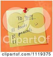 Cartoon Of A Handwritten School Shopping List On A Pinned Note Royalty Free Vector Clipart by MilsiArt