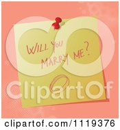 Cartoon Of A Handwritten Will You Marry Me Message On A Pinned Note Royalty Free Vector Clipart by MilsiArt