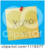 Cartoon Of A Handwritten XOXO Message On A Pinned Note Royalty Free Vector Clipart by MilsiArt