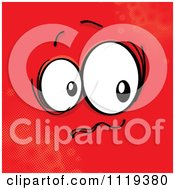Cartoon Of A Nervous Face On Red Royalty Free Vector Clipart