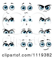 Cartoon Of Expressional Blue Eyes Royalty Free Vector Clipart