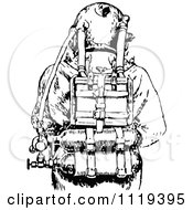 Clipart Of A Retro Vintage Black And White Deep Sea Diver Suit 3 Royalty Free Vector Illustration