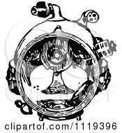Clipart Of A Retro Vintage Black And White Deep Sea Diver Suit Mask Royalty Free Vector Illustration