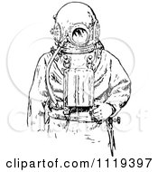 Clipart Of A Retro Vintage Black And White Deep Sea Diver Suit 2 Royalty Free Vector Illustration by Prawny Vintage