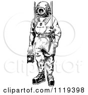 Clipart Of A Retro Vintage Black And White Deep Sea Diver Suit 1 Royalty Free Vector Illustration