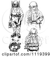 Clipart Of Retro Vintage Black And White Deep Sea Diver Suits Royalty Free Vector Illustration