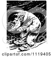 Clipart Of A Retro Vintage Black And White Man Snowshoeing Through A Winter Night Royalty Free Vector Illustration by Prawny Vintage