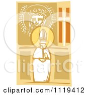 Woodcut Pope And Image Of Christ