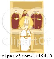 Clipart Of A Woodcut Pope And Cardinals Royalty Free Vector Illustration