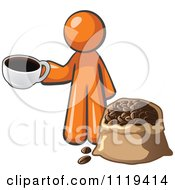 Cartoon Of An Orange Man With A Cup Of Coffee Over A Bag Of Beans Royalty Free Vector Clipart