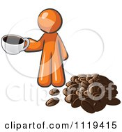 Cartoon Of An Orange Man With A Cup Of Coffee Over A Pile Of Beans Royalty Free Vector Clipart